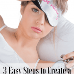 Image of woman in bed with eye mask on with text overlay that says: 3 Easy Steps to Create a Morning Routine